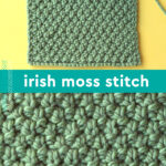 Irish Moss Knit Stitch pattern close-up in green yarn on knitting needles.