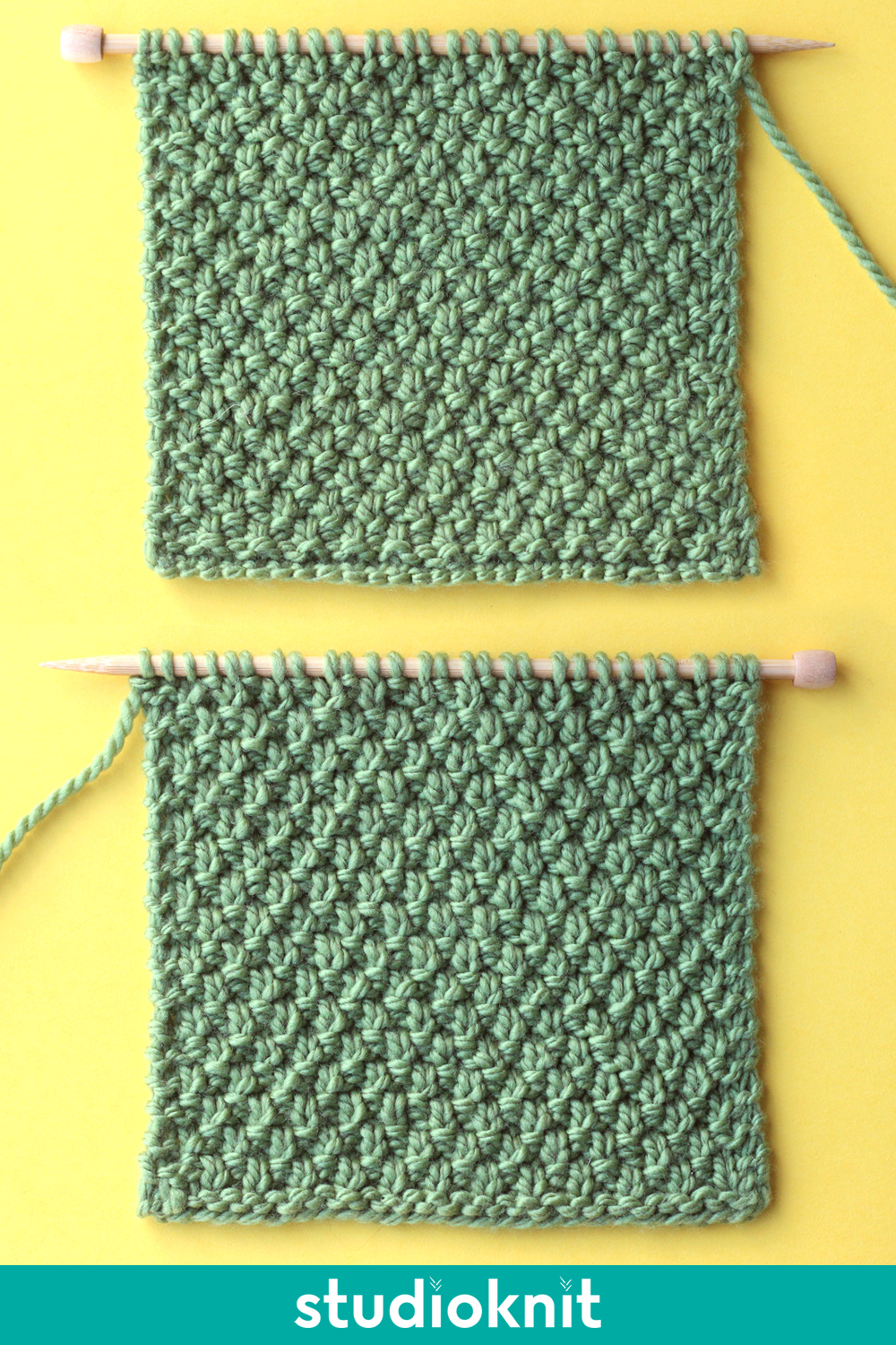 Right and wrong sides of the Irish Moss Knit Stitch Pattern in green color yarn on knitting needle.