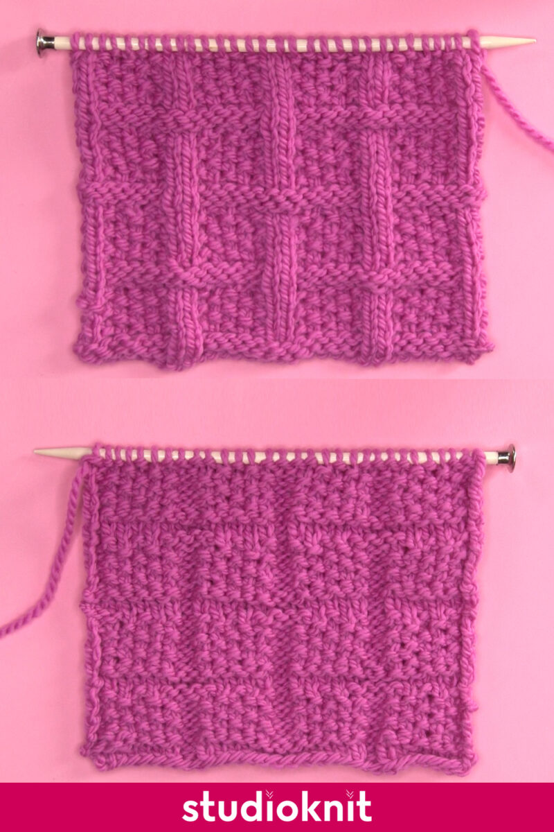 Lattice Seed Stitch knitting pattern with both right and wrong sides displayed on knitting needles.