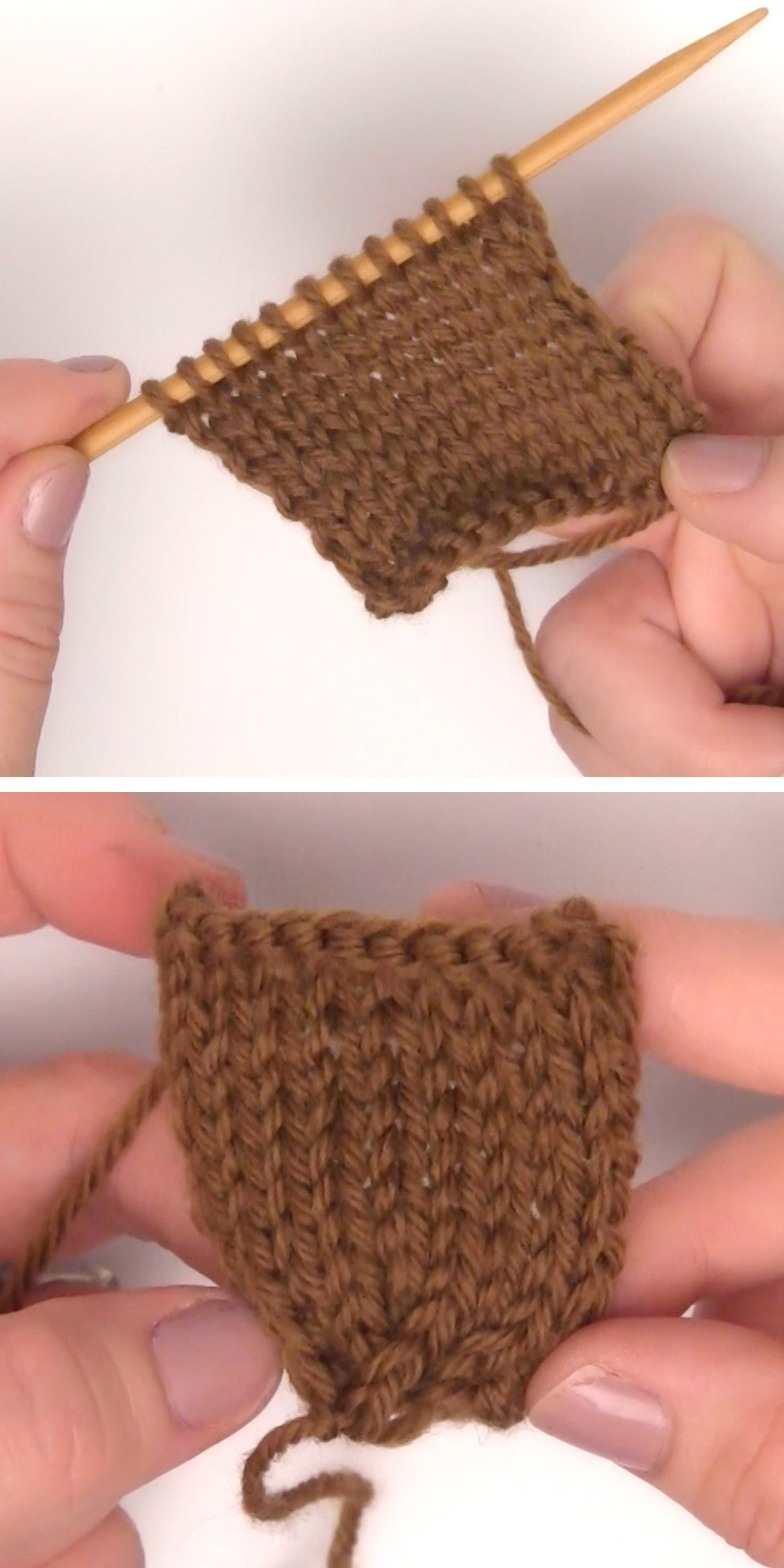 Stockinette stitch swatch of knitted acorn body in brown color yarn.