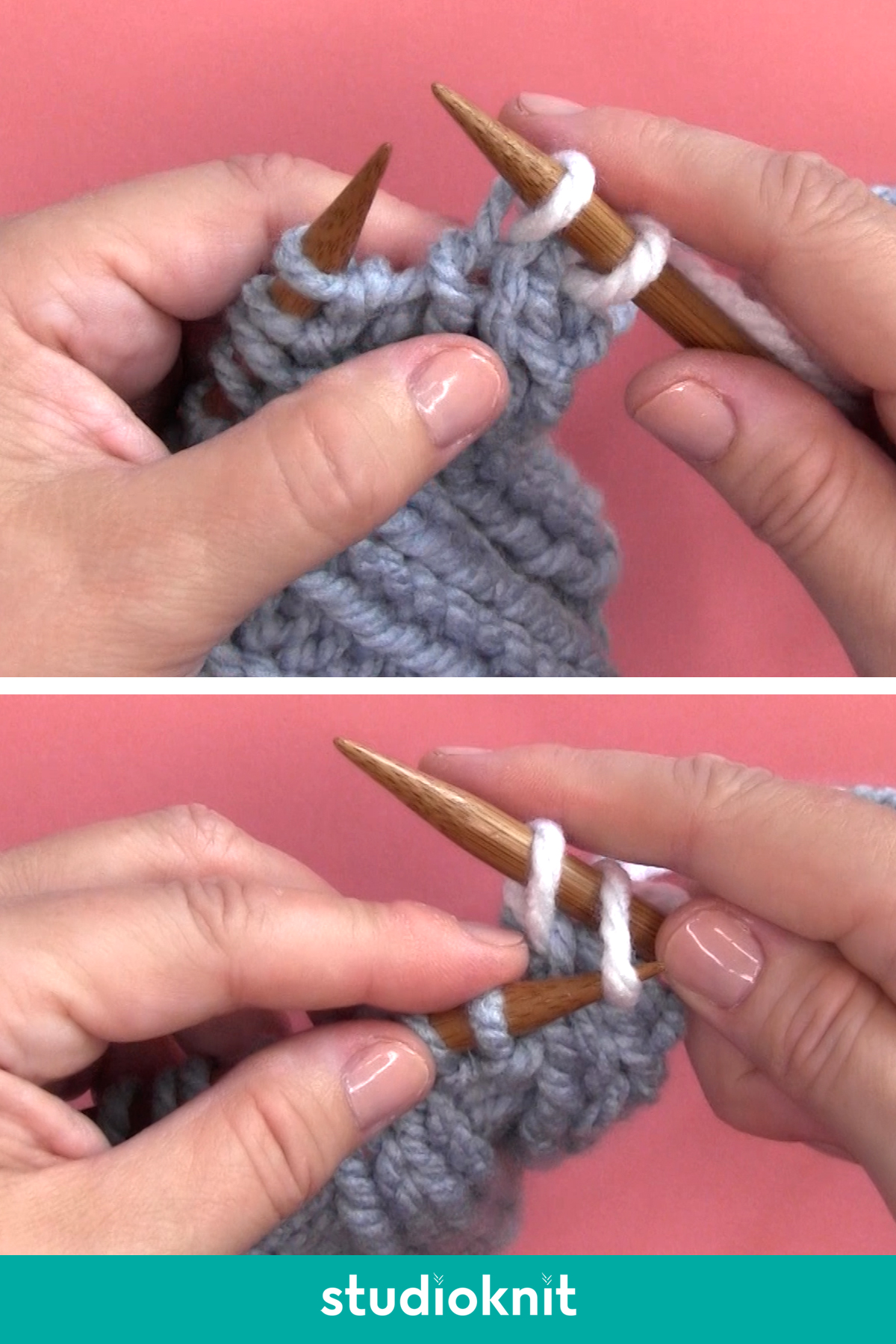 Demonstration of casting off knitwise with hands, yarn, and knitting needles.