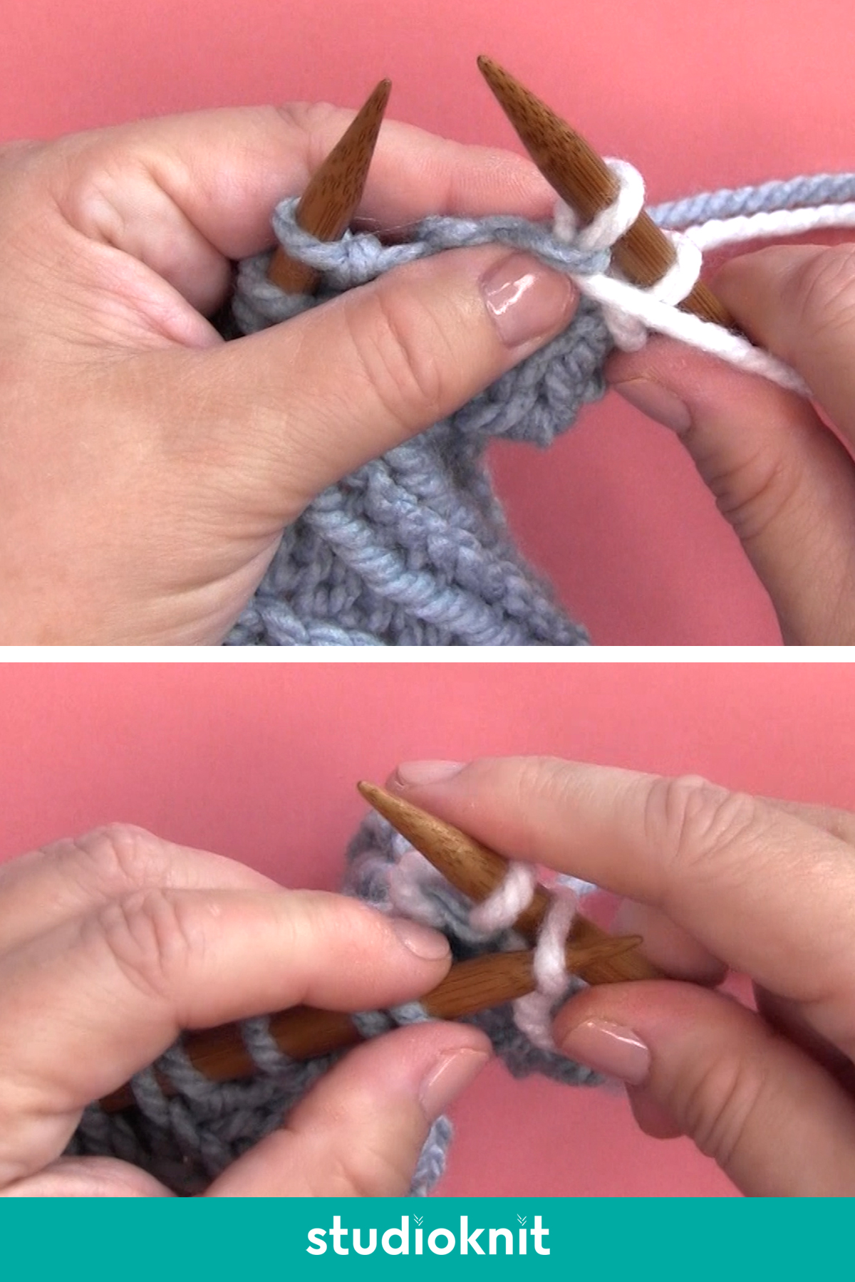 Demonstration of casting off purlwise with hands, yarn, and knitting needles.