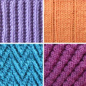 Collection of four ribbed knit stitch patterns in blue, orange, and purple yarn colors.