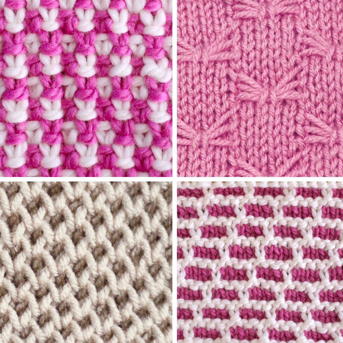 Slip Stitch Knitting Patterns of Linen, Butterfly, Honeycomb, and Brick Stitches