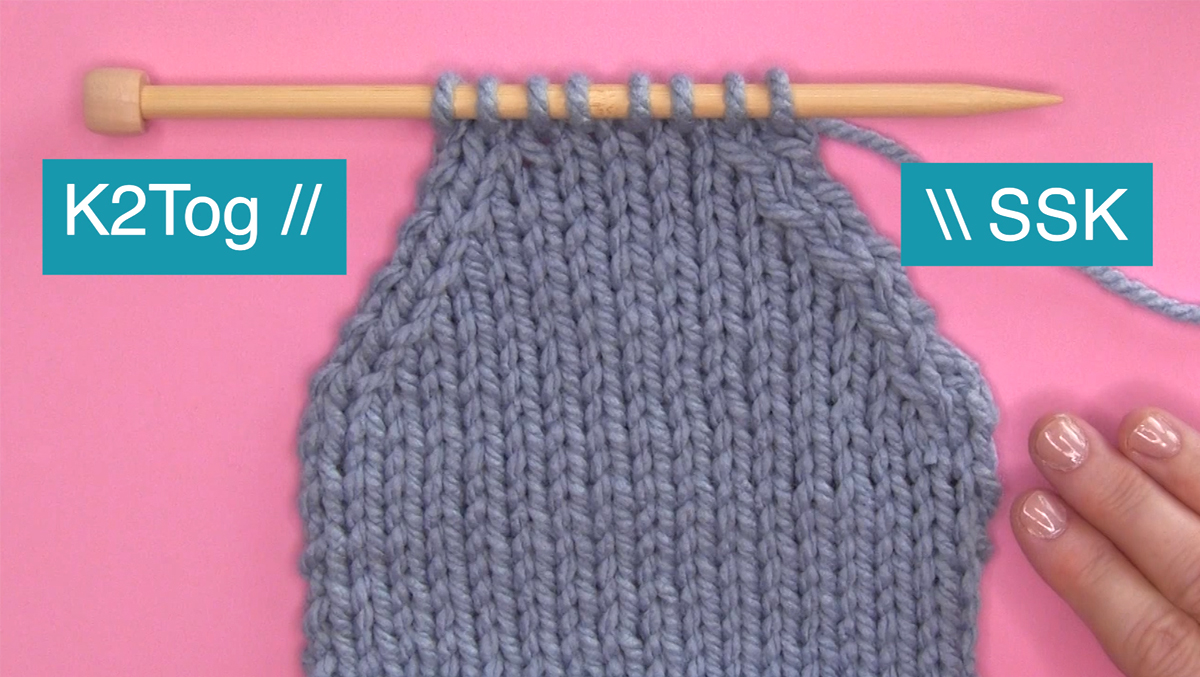 K2Tog and SSK knitted swatch demonstrating slants.